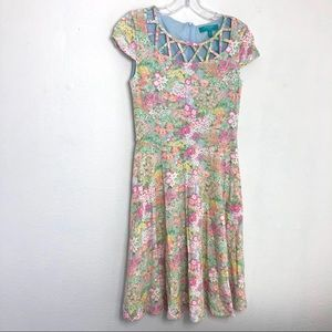 Fever London Heritage Floral Cut Out Flare Dress 4